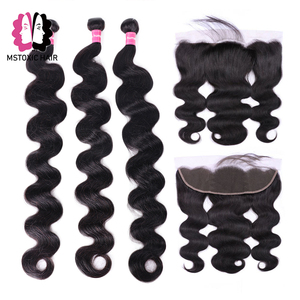 Image 1 - Mstoxic Brazilian Body Wave Bundles With Frontal Closure 30inch 32 34 36 38 40inch Long Remy Human Hair Bundles With Closure