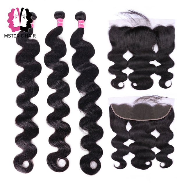 Mstoxic Brazilian Body Wave Bundles With Frontal Closure 30inch 32 34 36 38 40inch Long Remy Human Hair Bundles With Closure