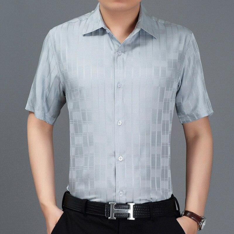 2020 New Summer Men Shirt Short Sleeve Plaid 100% Silk Shirt Men Formal Shirts Social White Camisa Masculina 3909 KJ1938