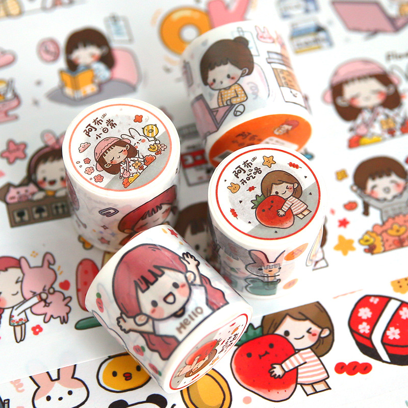 1 Pcs/lot DIY Washi Tape Cartoon Girl Japanese Paper Decorative Adhesive Tape Lovely Series Masking Tape Stickers