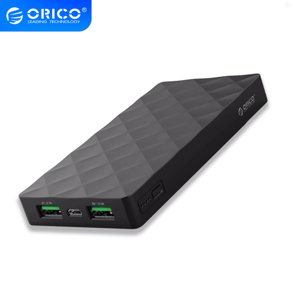 ORICO 10000mah  External Battery Pack 5V2.1A Dual USB Port Power Bank Charge for Samsung Xiaomi Tablet title=
