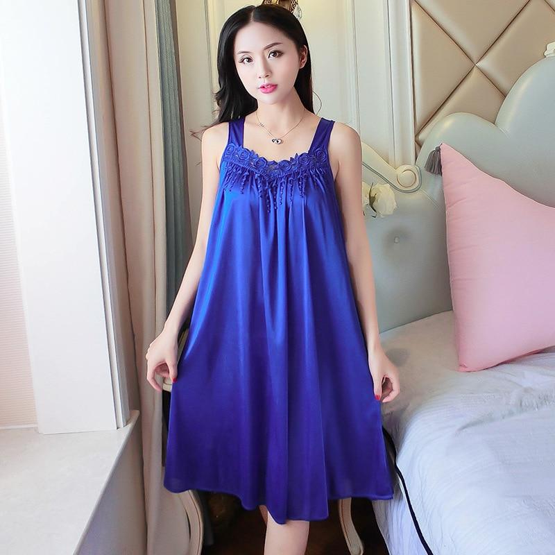 Summer Long Soft   Nightgowns     Sleepshirts   Satin Sleepwear Chemise Sleep Lounge Night Silk Dress Elegant Sexy Ladies Nightwear