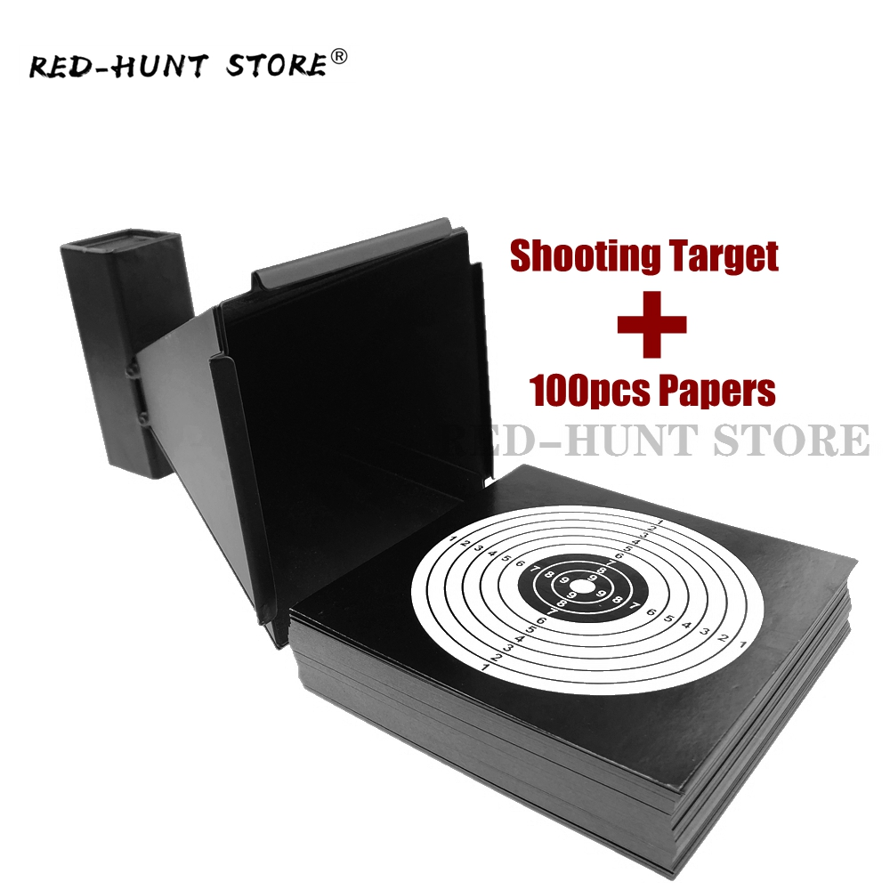 Pellet Trap Bullet Trap Wall-Mounted For Airsoft Air Rifles Air Gun Indoor Outdoor Shooting Training +100 Paper Targets