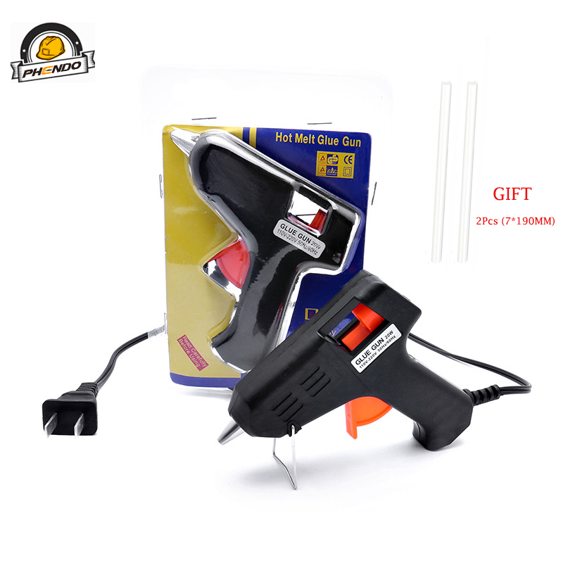 20W Mini Hot Glue Gun Dispenser Family Handmade DIY Thermal Gun Heat Glue Gun Belt Holder Black With 7mm Home DIY Aluminium AC