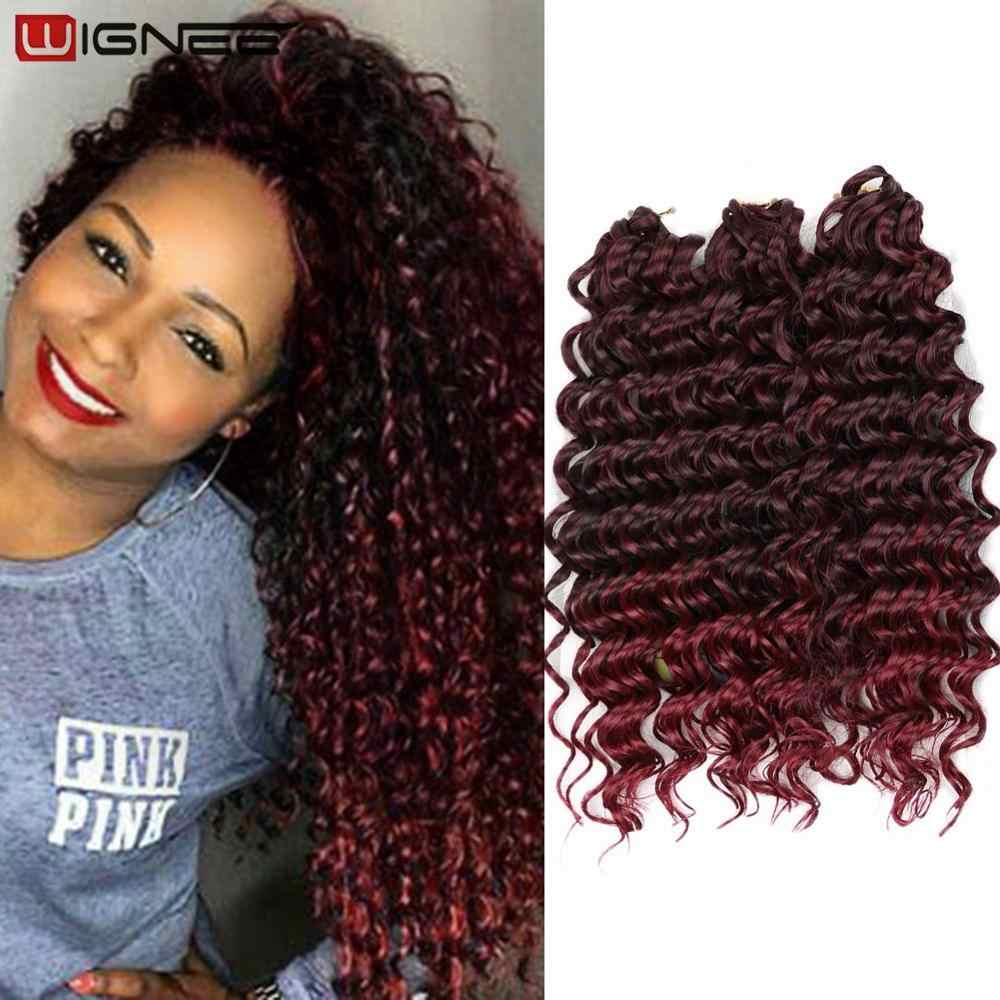 Wignee 3PCS/Lot 2 Tone Freetress Synthetic Hair Extension For Women Crochet Twist Braids Deep Wave Brown/BUG/Natural Black Hair