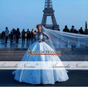 Image 2 - New puff big ball gown lace wedding dresses with beautiful design 2020 bridal dress