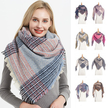 1PC New Design Women Cashmere Scarf Triangle Winter Scarves Lady Shawls And Wraps Knit Blanket Neck Striped Hot Selling