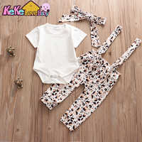 baby girl clothes Set newborn Infant clothing sets colorful print pants short sleeve tops headband toddler baby outfits suit