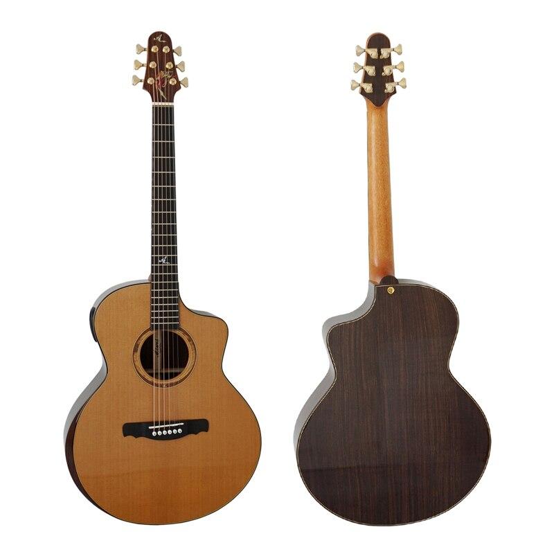 Mini modelo de guitarra Jumbo acústico superior de cedro doble (pícea) de Grado Maestro de China sm03dcr