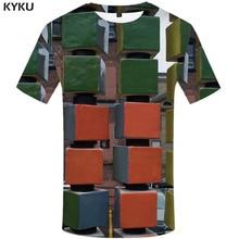 KYKU Rubik\S Cube T shirt Men Square T-shirts 3d Geometric Tshirt Printed Russia Tshirts Casual Harajuku Funny shirts
