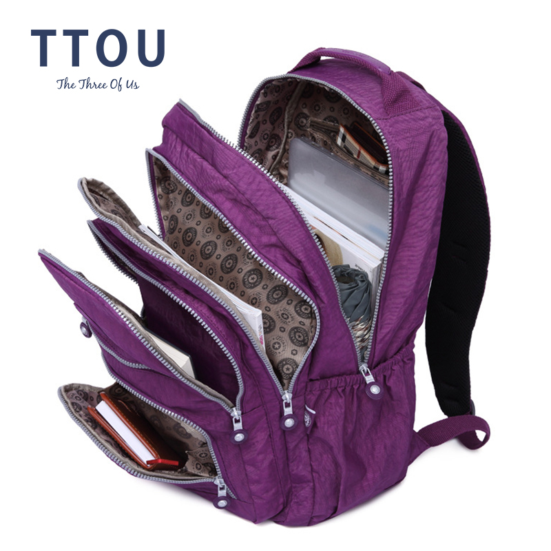 TTOU School Backpack For Teenage Girl Mochila Feminina Kipled Women Backpacks Nylon Waterproof Casual Laptop Bagpack Female