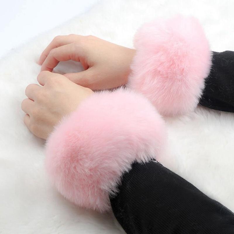 Winter Warm Women Faux Fur Fluffy Elastic Wrist Cuffs Arm Warmer Plush