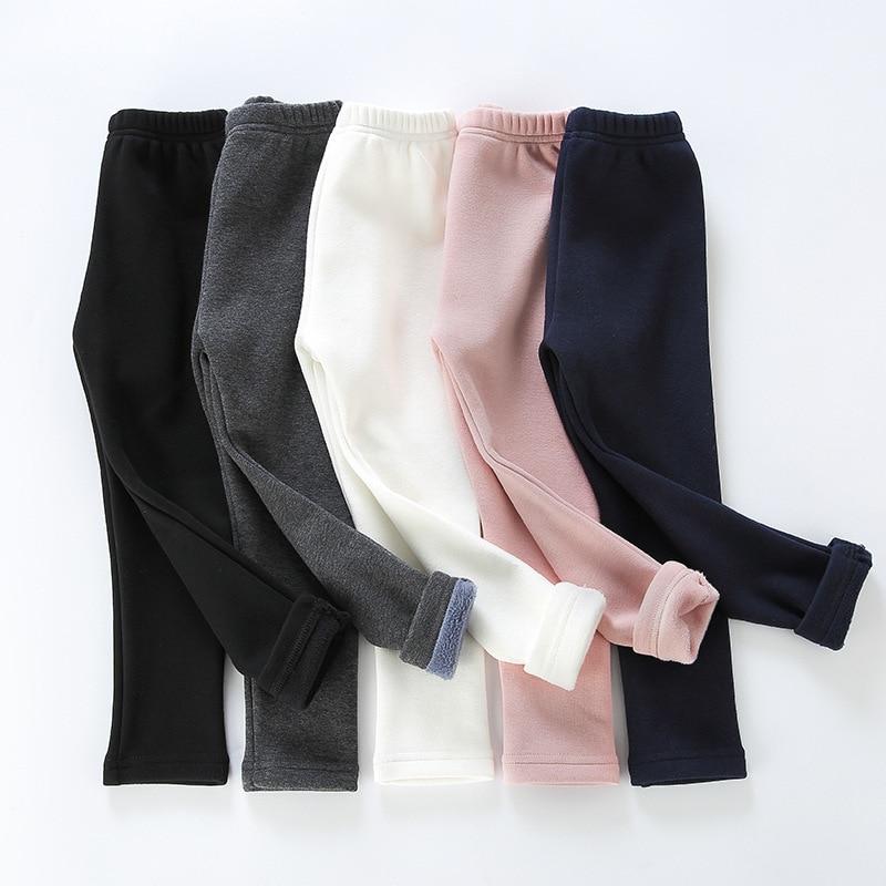 Girls Warm Elastic Waist Cotton Leggings Pants Winter Thickening Fleece Children's Long Trousers Solor Color Warm Girls Legging 4