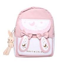 Canvas Female Laptop Backpacks Cartoon Women School Bags Cute Rabbit Ladies Backpack Fashion Bow Teenage Girls Student Book Bags