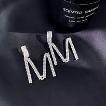 Ustar буквы м стразы висячие серьги для женщин женский серебряный