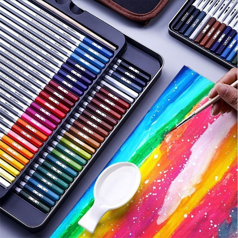 24-72 Colors Professional Watercolor Pencil Set Art Sketch Drawing Painting Pencils Gift Art School Stationery Supplies 05401