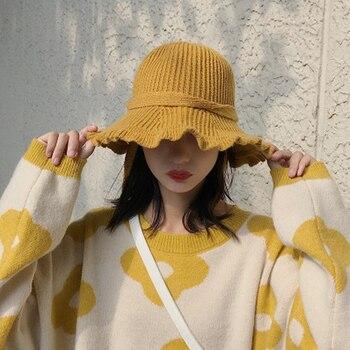 2019 nuevo Color sólido cálido tejido para invierno mujer chica retro buket hat al aire libre tapa de protección solar para viajar japonés hermosa gorra
