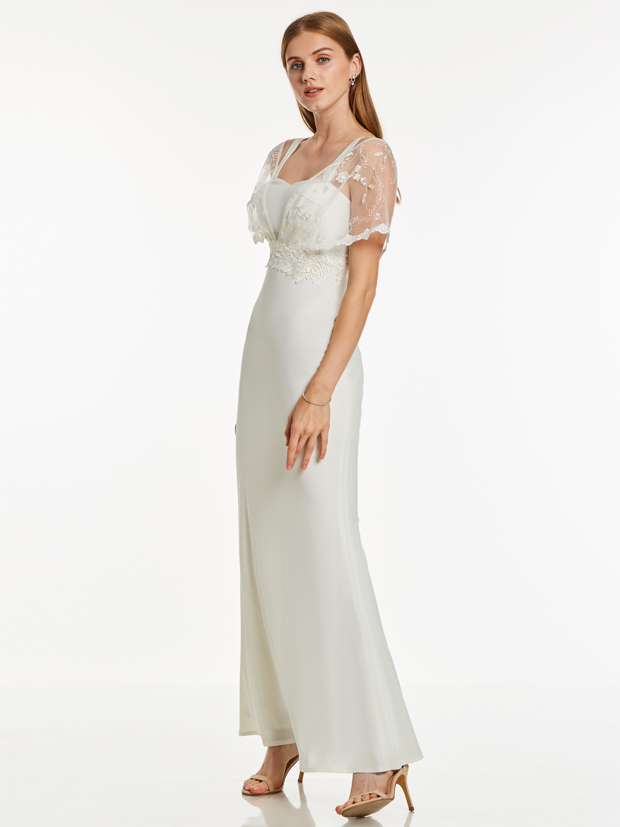 Dressv White Long Evening Dress Cheap Short Sleeves V Neck Sheath Appliques Wedding Party Formal Dress Evening Dresses