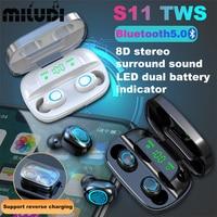 S11 TWS Bluetooth Kopfhörer Mini 8D Surround Stereo Sound Business Headset Sport Ohrhörer Musik Ohrhörer Arbeitet Auf Smartphones
