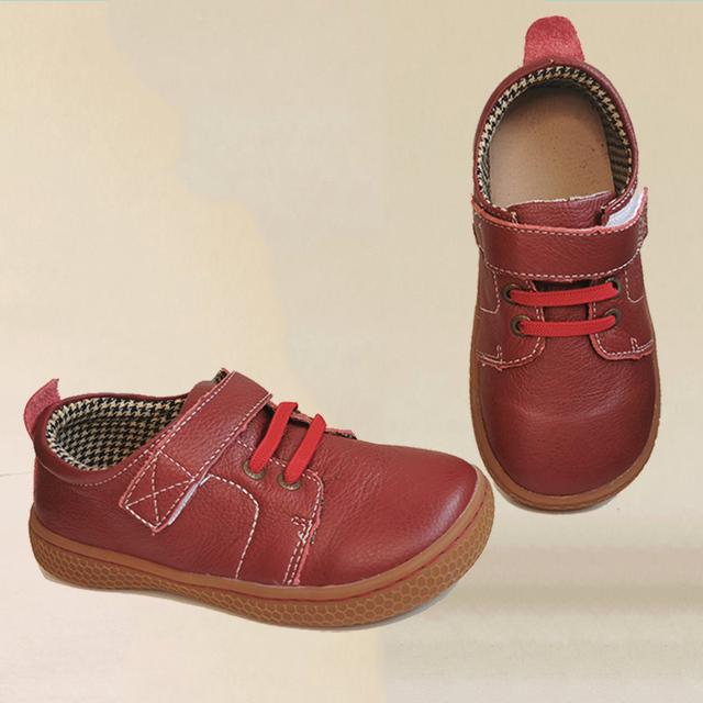 PEKNY BOSA Brand kids leather shoes Children barefoot shoes soft sole boys Leather shoes girls sneakers brown red color 25 35