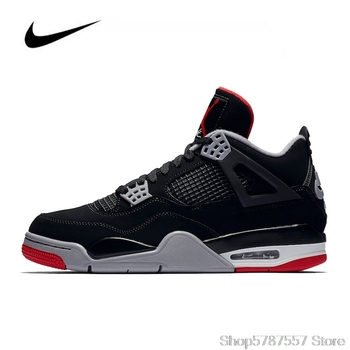 цена на Nike Air Jordan 4 Retro Bred Men's Basketball Shoes Original High Top Jordan Sneakers Basketball Shoes Men Women  308497-06