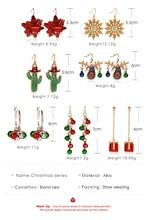 Snowflake Ribbon Earrings Elk Bell Cute Cartoon Christmas Gift Tassel for Women