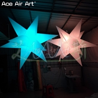 Hot sale 6 PCS 1.5m dia Hanging Inflatable white star,LED Balloon Lighting Star Airblown Valentines for Party Decorations