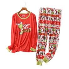 ホット販売クリスマス女性パジャマプラスサイズ冬のニットコットンパジャマセット女性新緑長袖カジュアルパジャマ女性