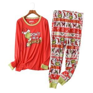 Image 1 - Heißer verkauf Weihnachten Frauen pyjamas Plus größe winter stricken baumwolle pyjama sets frauen Frische grün langarm casual nachtwäsche frauen