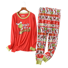 Hot sale Christmas Women pyjamas Plus size winter knit cotton pajama sets women Fresh green long sleeve casual sleepwear women