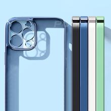 Luksusowa kwadratowa rama poszycie TPU przezroczysty futerał na iPhone 12 11 Pro Max Mini iPhone X XR XS 7 8 Plus SE 2020 miękka przezroczysta okładka tanie tanio CN (pochodzenie) Fitted Case Luxury Classic Square frame Plating Case Apple iphone ów Iphone 6 Iphone 6 plus IPHONE 6S