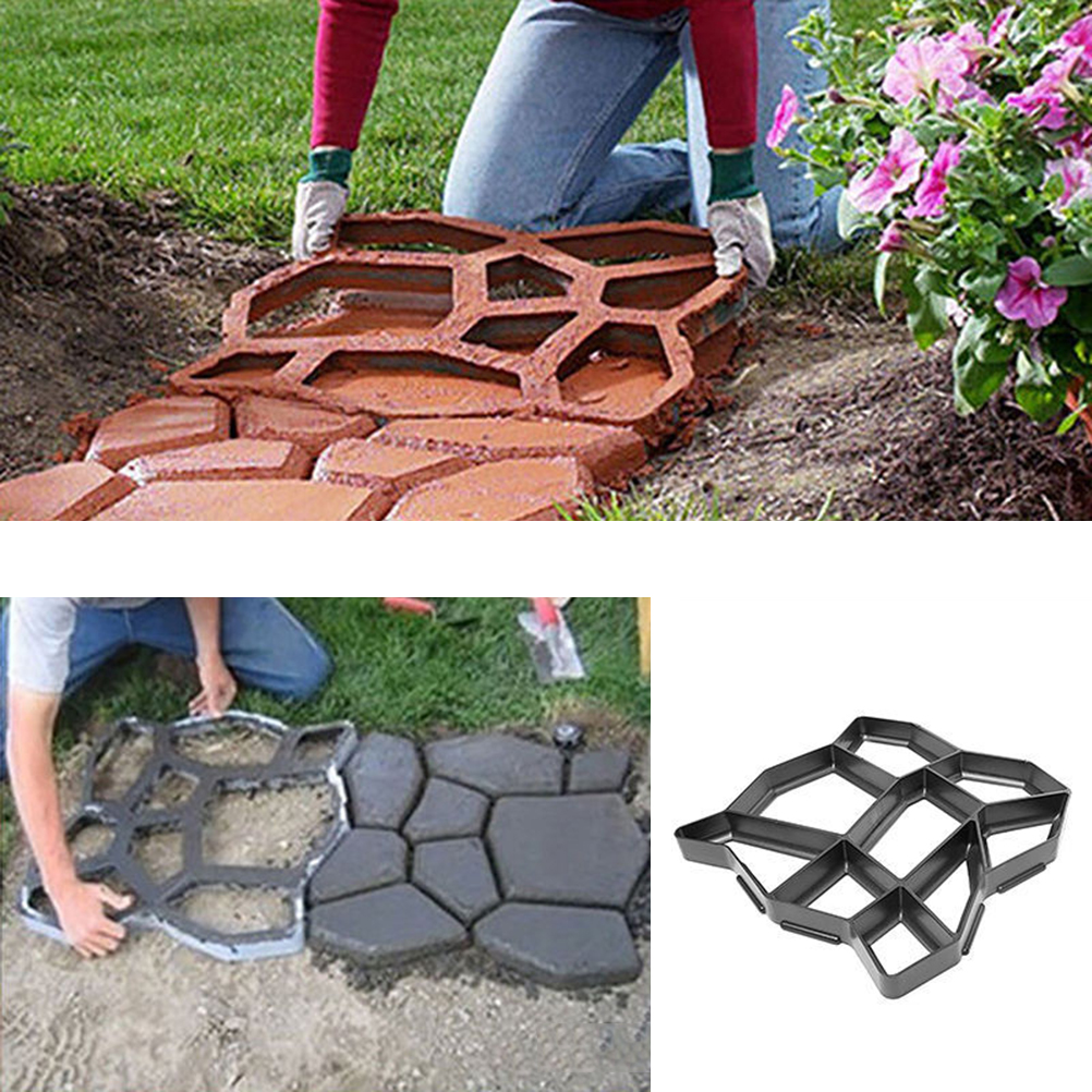 2 Pcs Personality DIY Path Making Mold Manually Garden Mesh Irregular Paving Mould Plastic Reusable Floor Mold  Black