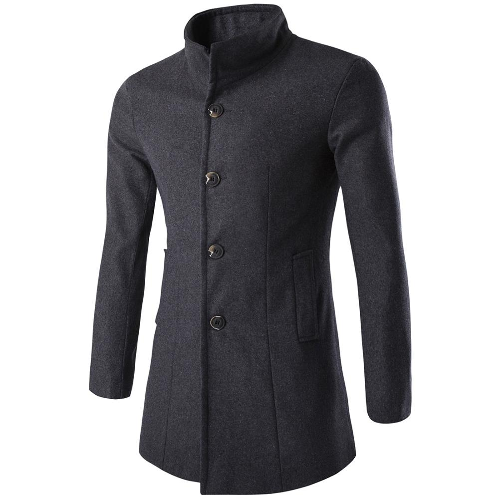 2019 Winter Trench Coat Men Fashion Long Overcoat men Hot Sale Woollen Coat Thick Men's Clothing