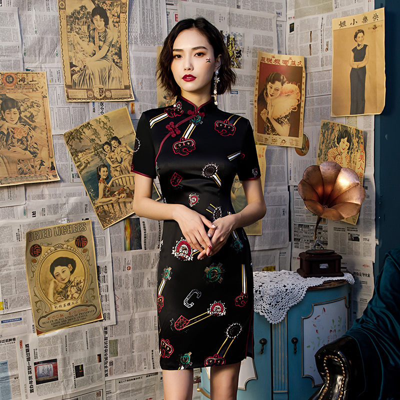 Mini Black Silk Cheongsam Dresses Moden Qipao Woman Black Bottom Purple Edging Tight Silky Chinese Dress Chipao