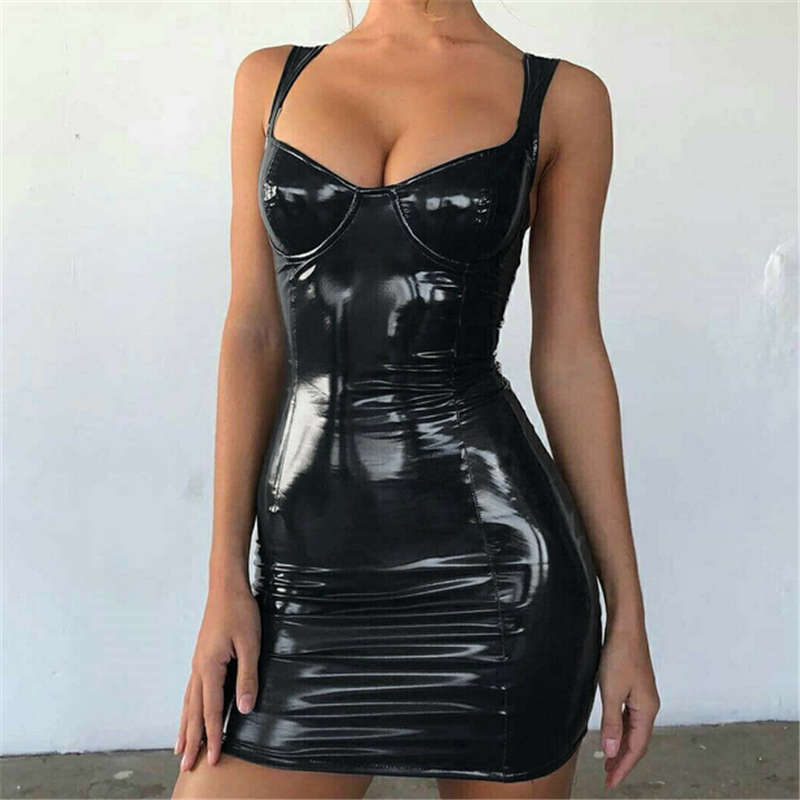 Summer <font><b>Dress</b></font> <font><b>Women</b></font> <font><b>Faux</b></font> <font><b>Leather</b></font> <font><b>Mini</b></font> Party <font><b>Dress</b></font> Sleeveless Ladies Bodycon <font><b>Dresses</b></font> Clubwear Solid <font><b>Womens</b></font> <font><b>Dresses</b></font> Robe Femme image