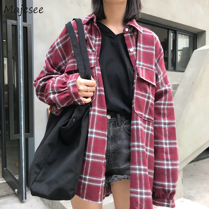 Shirts Women Harajuku Streetwear Plaid Long Womens Shirt Single Breasted Student Simple All-match Korean Style Casual Chic 2020