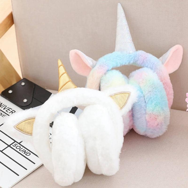Lovely Ear Warmers Plush Unicorn Earmuff Rabbit Fur Winter Warm Earmuffs