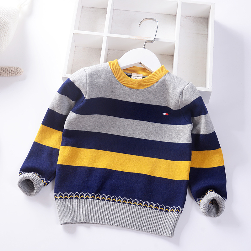 Striped Cotton Boys Sweaters O-neck Kids Knitted Wear Spring Fall Pullover Children's Clothing