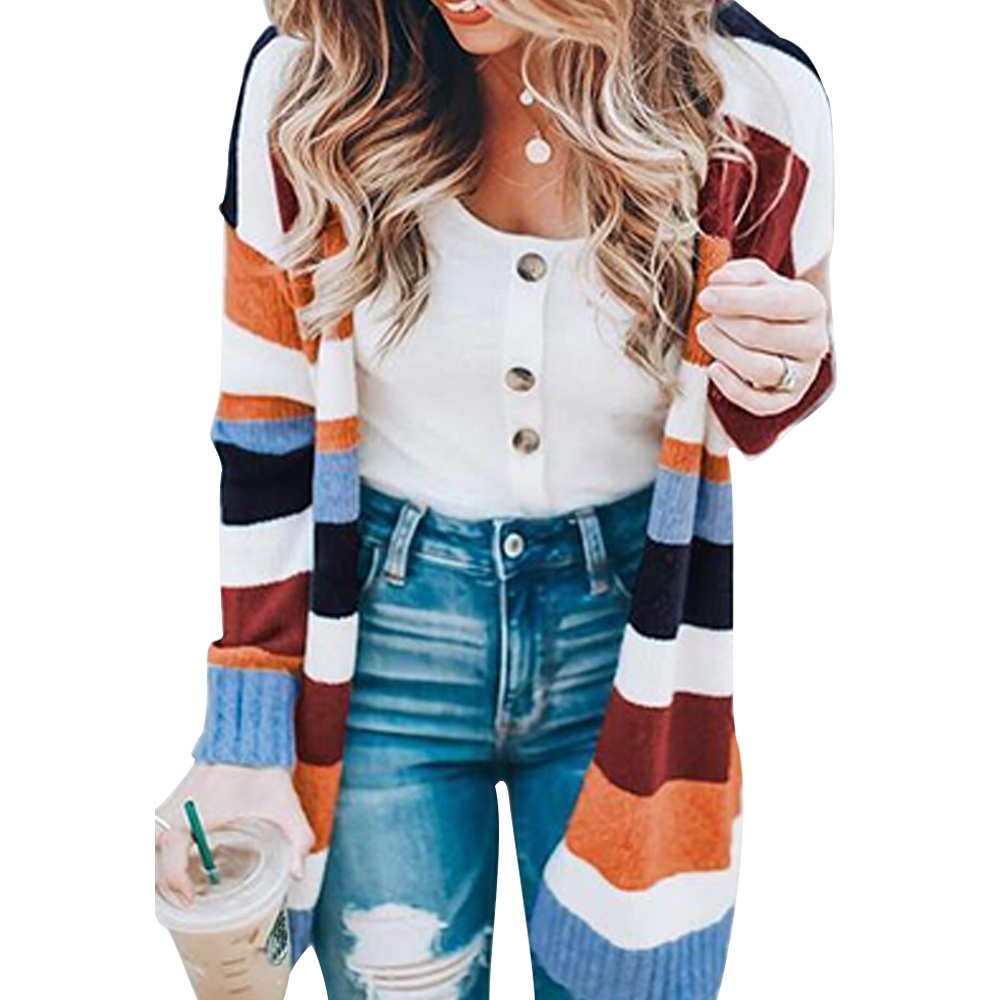 Knitted Striped Cardigan Sweater Women 2019 Spring Multi-colors Crocheted Clothing Sweater Fashion Long Cardigan for Female D25