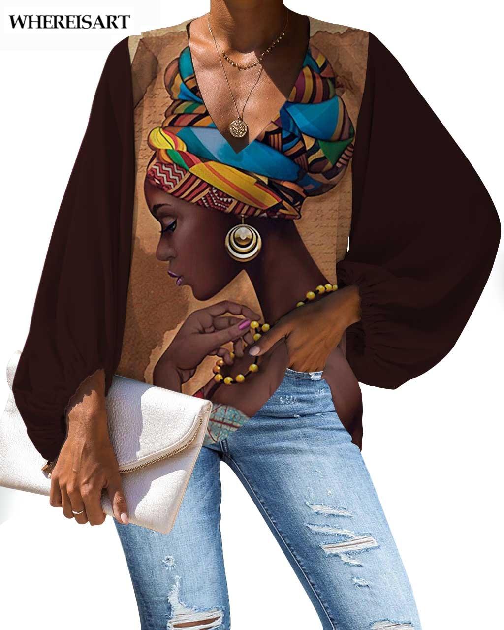 Blanchisserie noire africaine femmes Blouses personnalisées reine chemises col en v coupe basse lanterne manches ample soie lisse et Satins hauts