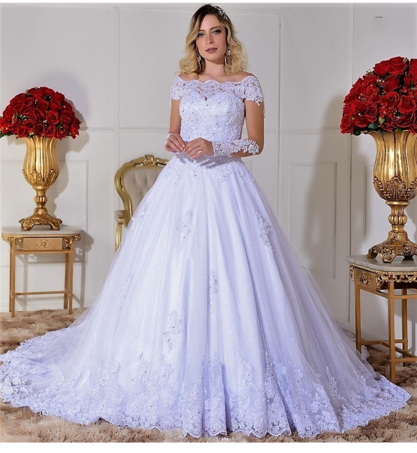 2020 Wedding  Dress One Shoulder With Train Long Sleeve Lace Appliques Bridal Gowns Gorgeous Vestido De Noiva Princesa Charming