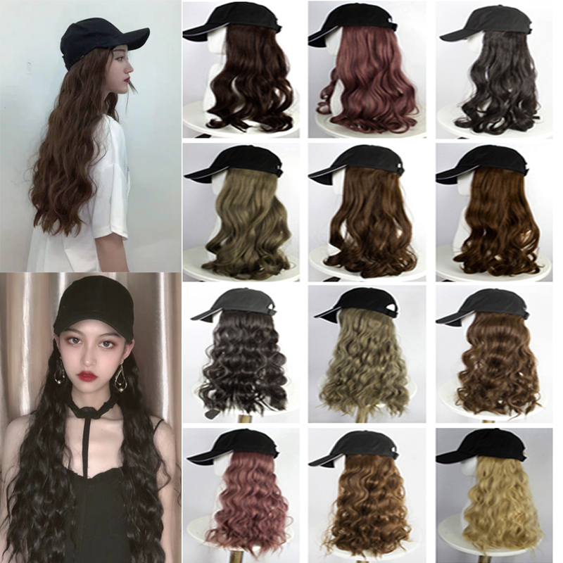 Fashion High Quality Girl Black Long Curly Hair with Hat Integrated Wig Suitable for Women Party baseball cap wig window valance