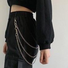 Панк Хип хоп металлические брюки с цепочкой на талии хипстерские