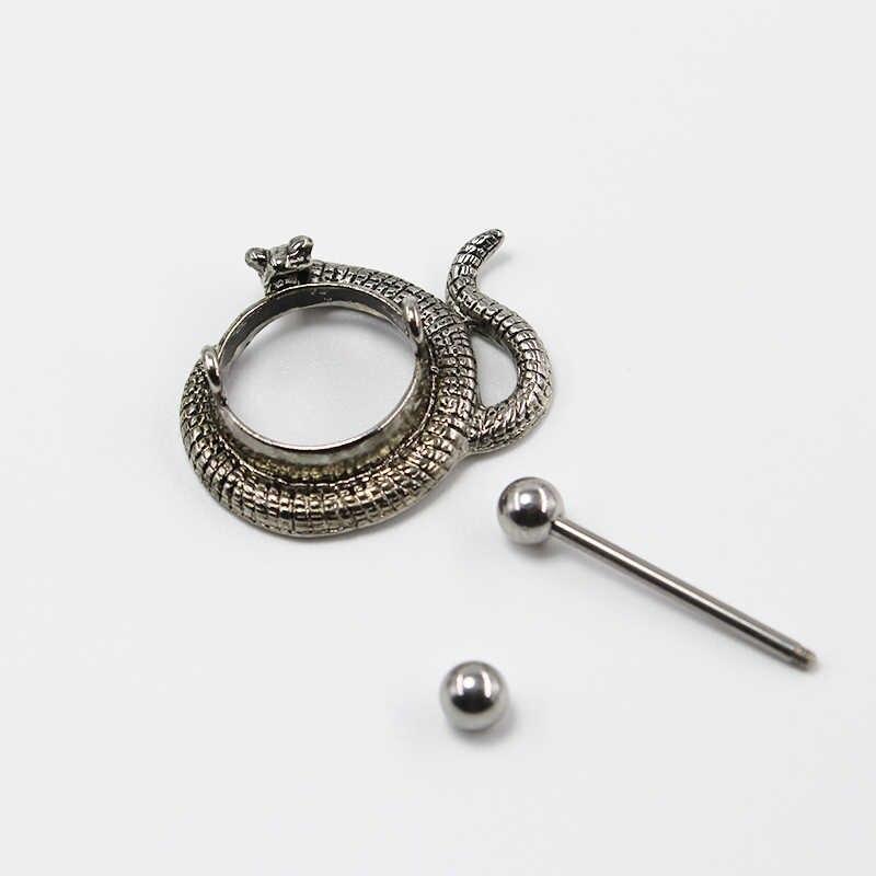1pc na moda redondo cobra nipple piercing sexy corpo jóias de aço inoxidável metal nipple anéis nipple bar feminino punk piercing escuro