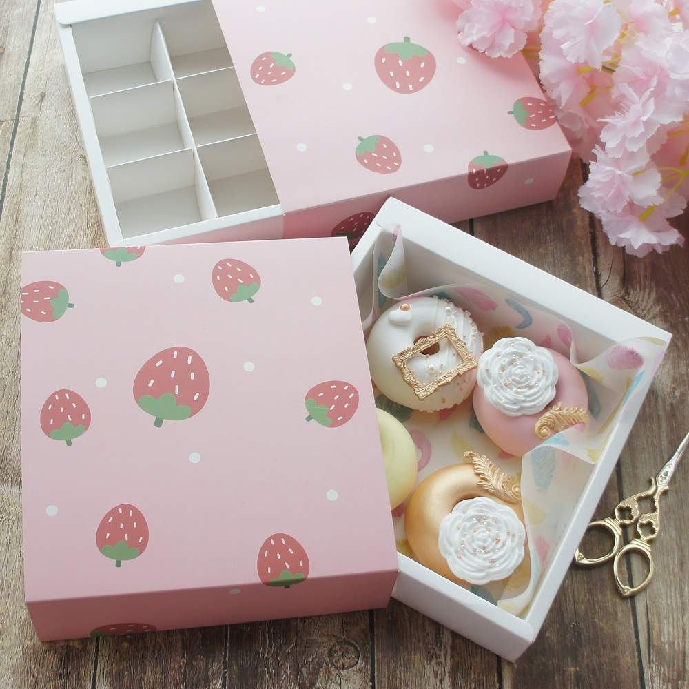 2 Style Choose 18.5*20*5cm 5pcs Pink Strawberry Paper Box As Macaron Chocolate Cookie Wedding Birthday Party Gifts Packaging