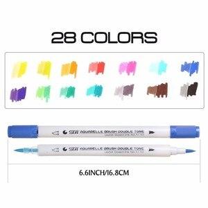 Image 3 - Sta 14 Pcs/28 Kleuren Aquarel Dual Borstel Markers 28 Chameleon Art Kleur Zachte Kalligrafie Pennen Aquarelle Markers