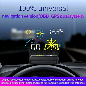 Q10 Windshield Projector OBD2 Scanner with Live Navigation GPS HUD Speed Fuel Consumption Car Speedometer Projection