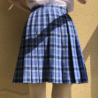 2019 New Women Summer Skirt Plaid Empire High Waist Above Knee Mini Ins Sweet Japan Style Pleated Skirts Short