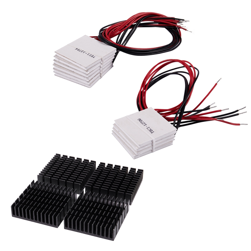 -10 Pcs TEC1-12706 Cooler Peltier Effect Thermoelectric Module 12V 60W 72W & 4 Pcs Black Aluminum Heat Sink Cooling Fin Cooler image