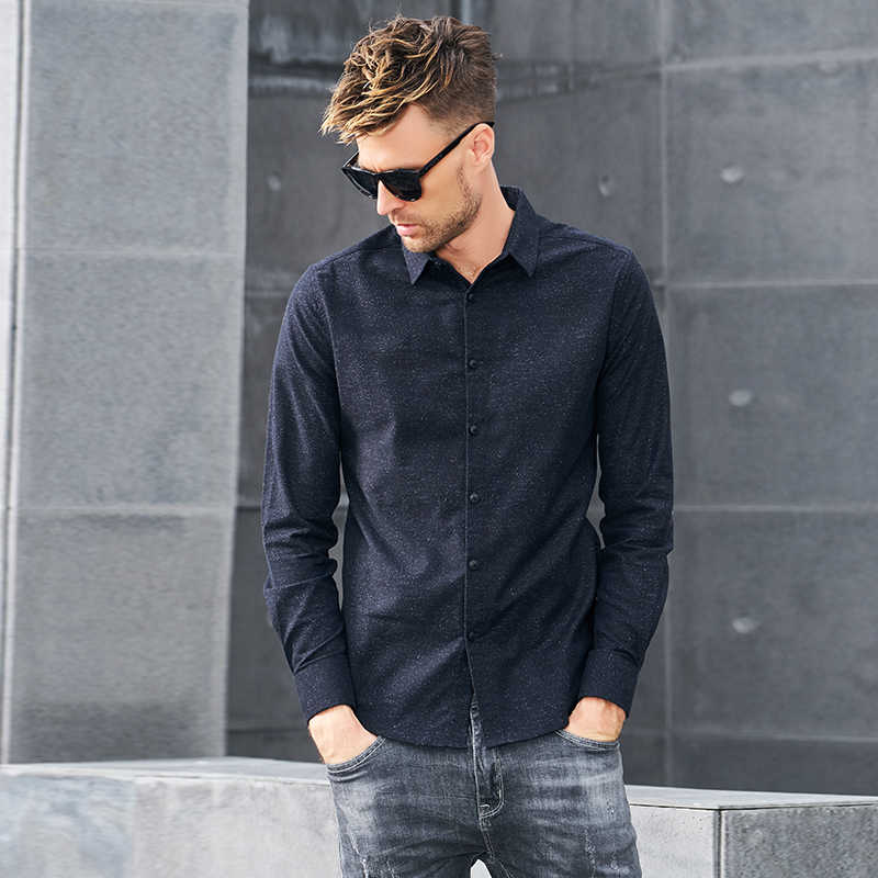 Marca Enjeolon 2020 camisas de algodón de otoño para hombre Camisas sólidas negras para hombre 3XL blusa camisas de manga larga para hombres CX2519-1